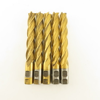 """Quinco Tool 1"""" HHS Coated End Mill 4 Flute 6"""" LOC 8-1/2"""" OAL Lot of 5"""