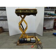 "1000 LB Hydraulic Scissor Lift Table 48""x27"" Top 12"" to 84-1/2"" Ht. 460V 3ph"