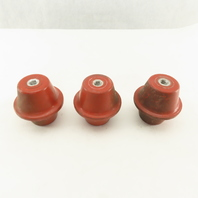 """2-1/4"""" High 2-1/2"""" OD Electric Insulator Stand Off 3/8-16"""" Threaded Lot Of 3"""