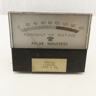 """Pillar PP803-1 0-160% Rating Multi Purpose Analog DC Ammeter 4-1/2"""" Panel Mount"""