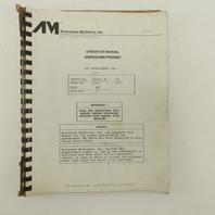 Warner Swasey W-2040 24 Station 20 Ton CNC Turret Alarm Code Operator Manual