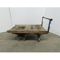 "Vintage Antique Industrial Factory Warehouse Railroad Coffee Table Cart 30""x48"""