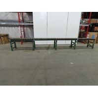 """Roach 240""""L x24"""" 21""""BF Steel Gravity Roller Conveyor 2-1/2"""" Rollers W/Legs"""