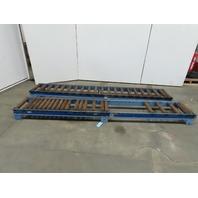 "Lewco 120""L x18"" 15""BF Steel Gravity Roller Conveyor 2-1/2"" Rollers Lot of 2"