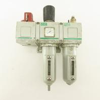 "ASCO 8652A Manifold Assembly Filter Regulator Lubricator W/Shut-Off 1/2"" NPT"
