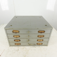 "Numeridex 17""x19"" Vintage 4 Drawer Compartment Small Parts Storage Steel Cabinet"