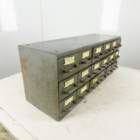 "Equipto 18 Drawer Industrial Metal Small Parts Cabinet 34-1/4""W X11""D X 13-1/2""H"