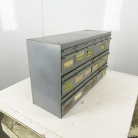 "Equipto 18 Drawer Industrial Metal Small Parts Cabinet 34-1/4""W X11""D X 19-1/2""H"