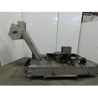 """Henning Incline Chip Conveyor Coolant Recovery 12"""" Belt 48x13"""" Infeed 49"""" Disc."""