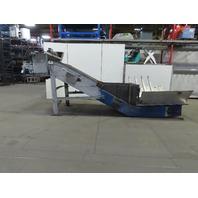 """Incline Chip Conveyor 54""""x48"""" Intake 48"""" Steel Belt 17FPM 53"""" Discharge 224 OAL"""
