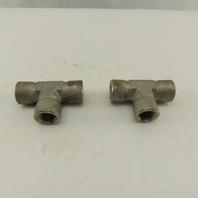 "Cajon Swagelok 1/2"" NPT 316 Stainless Steel Female Pipe Tee Lot of 2"