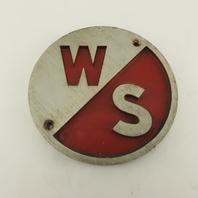 """Warner Swasey Cast Aluminum Name Emblem Legend Logo Plate 6"""" Diameter"""