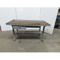 "32""Dx72""wx35""H Wood/Steel Top Work Bench Vintage Work Table W/Drawer"