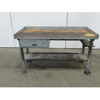 "28""Dx60""Wx34""H Butcherblock Wood/Steel Top Work Bench Table Vintage  W/Drawer"