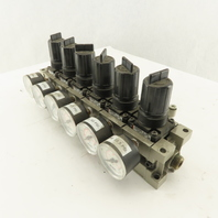 SMC NARM2500-A-N02 Compressed Air Manifold W/6 Regulators 0.05-0.85 Mpa