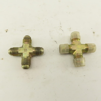 9/16-18 (-6) JIC Male Flare 4 Way Cross Hydraulic Fitting Lot Of 2