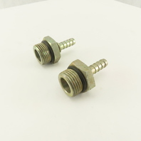 1-1/16-12 (-12) O-Ring Boss Male x 3/8 Hose Barb Hydraulic Fitting Lot Of 2