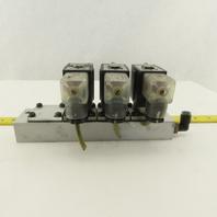 SMC VX2331 Air Light Oil 3 Way Solenoid Valve Bank Manifold 24V