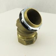 "2"" Brass EMT Liquid Tight Conduit x 2"" Box Connector 45° Elbow"