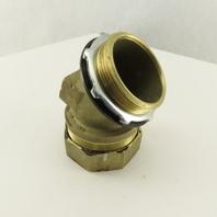 "2-1/2"" Brass EMT Liquid Tight Conduit x 2-1/2"" Box Connector 45° Elbow"