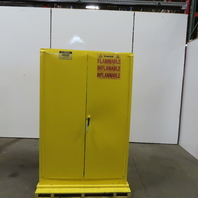 Justrite 25450 45 Gallon Cap Flammable Liquid Storage Cabinet Yellow 3 Shelf