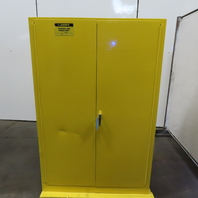Justrite 25450 45 Gallon Cap Flammable Liquid Storage Cabinet Yellow 6 Shelf