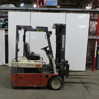 "Nissan N01L15U Electric 3 Wheel Forklift 2500LB Cap 188"" Lift 42"" Forks 9967Hrs"