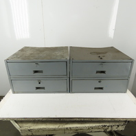 "2 x 20 x 13"" Tall 2 Drawer Under Bench Mount Metal Storage Unit Lot of 2"