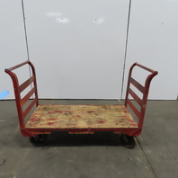 "Industrial 24""x50"" Wood Deck Push Pull Cart Wagon Flatbed"
