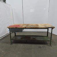 "30""Dx72""Wx34""H Butcherblock Wood Top Work Station Bench Table W/Drawer"