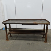 "28"" W x 72""L x 34-1/2""H 11 Gauge Steel Metal Work Bench Table W/Bottom Shelf"