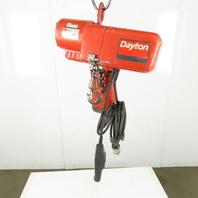 Dayton  3KR14 1/4 Ton Electric Chain Hoist 10' Lift 16FPM 115/220V Single Phase