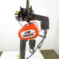 CM Lodestar RRT Electric Hoist 3 Ton 11' Lift Vari Speed 635 Power Trolley 230V