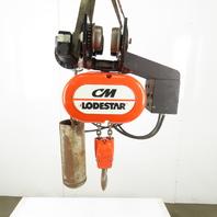 CM Lodestar RR 2 Ton Electric Hoist 11' Lift 16FPM 208-230/460V W/Power Trolley