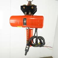 Cm Lodestar L2 Electric Chain Hoist 1 Ton 5/16FPM 2 Spd 15' Lift 460V W/Trolley