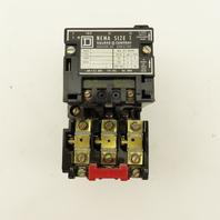 Square D Class 8536 Type SCO-3 600V 27A Nema Size 1 Contactor Overload 120V Coil