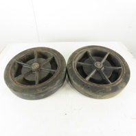 Hard Rubber Tires Wheels And Axles 16 x 3-1/2 x 12-1/8 DYI Project Lot of 2