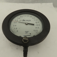 Ashcroft 0-15 PSI Temperature Compensated Test Gauge Bottom Ported 1/4 NPT