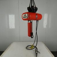 CM Lodestar L2 Electric Chain Hoist 1Ton 5/16FPM 2 Speed 14' Lift 460V W/Trolley