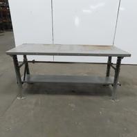 "28"" W x 72""L x 34"" H 11 Gauge Steel Metal Work Bench Table W/Bottom Shelf"