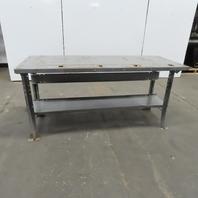 "28"" W x 72""L x 34-1/2"" H 11 Gauge Steel Metal Work Bench Table W/Bottom Shelf"
