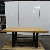 "Industrial Table Butcherblock Top W/Cast Iron Legs 79-1/2""Lx36-1/2""Wx33-1/2""H"