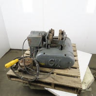 CM Chisholm-Moore 1-1/2 Ton Electric Hoist Wire Rope 20' Lift W/Power Trolley