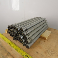 """Dematic 1.90"""" OD 28"""" BF 29"""" OAL 2 Groove Galvanized Conveyor Roller Lot Of 34"""