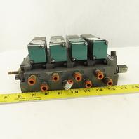 Numatics 4/2 Position Single Solenoid Air Valve Bank Manifold 24VDC Coil