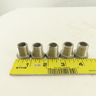 """3/8 x 1/4 NPT Stainless Steel Pipe Bushing 7/8"""" Long Lot Of 5"""