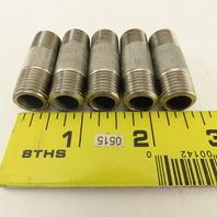 """Merit 1/4"""" Stainless Steel Pipe Nipple 1-1/2"""" Long Lot Of 5"""