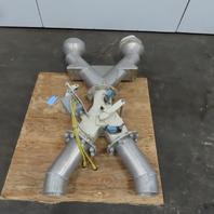 "6""x6""x6"" Flange Ridged Pipe Manual Diverter Valve For Plastics Grain or Powder"