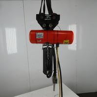 CM Lodestar H2 Electric Chain Hoist 1 Ton 2/8FPM 2 Speed 15' Lift 460V W/Trolley