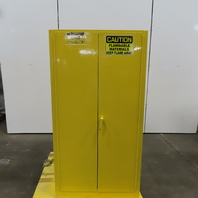 Justrite Flammable Liquid Storage Safety Fire Cabinet 60 Gallon 2 Door Yellow
